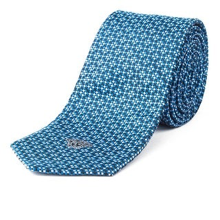 Versace Men's Slim Silk Medusa Dotted Pattern Tie Blue - no size