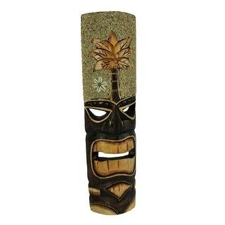 Hand Carved Wood Tiki Mask Sand and Palm Tree Island Art Wall Hanging