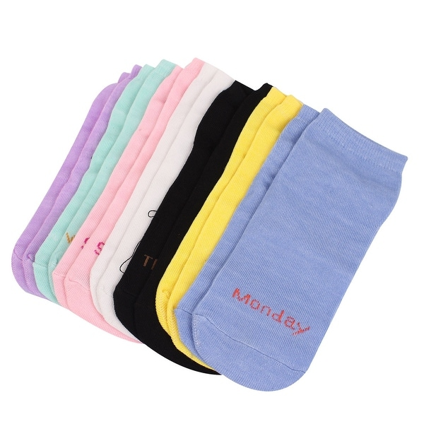 Unique Bargains 7 Pairs Assorted Color Stretchy Cuff Letter Print Casual Ankle Socks for Lady