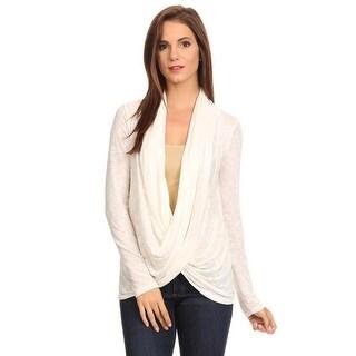 Women's Long Sleeve Metallic Criss Cross Cardigan METALLIC SILVER WHITE (Med)