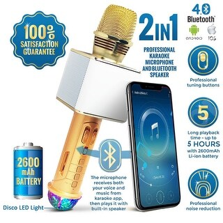 Wireless Karaoke Bluetooth 4.0 Microphone & Speaker for iOS / Android