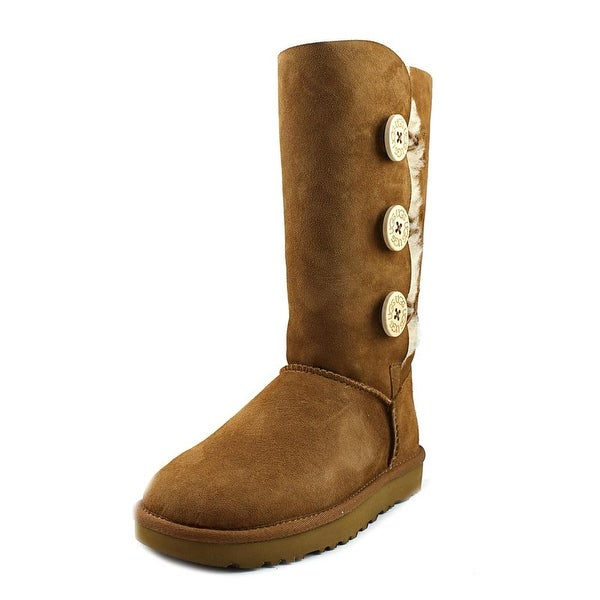 Ugg Australia Bailey Button Triplet ll Women Round Toe Suede Tan Winter Boot