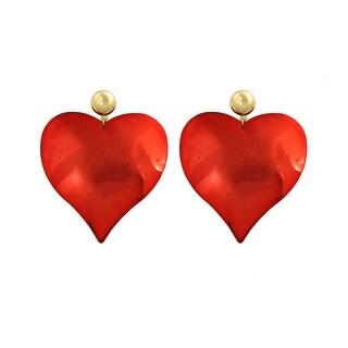 Heart Post Earrings - Red