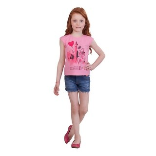 Pulla Bulla Little Girl Graphic Shirt Kids Sleeveless Tee (Option: 6x)