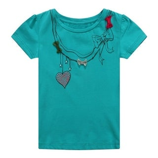Richie House Baby Girls Teal Styled Necklace Print Bows Tee 12M