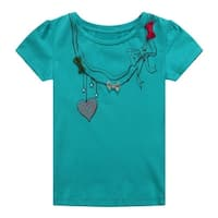 Richie House Little Girls Teal Styled Necklace Print Bows Tee 2-5