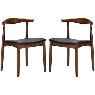 2xhome Set of 2 Mid Century Modern Walnut Brown Dark Wood PU Leather Cushion Padded Seat Kitchen Dining Chair Armless Side Chair