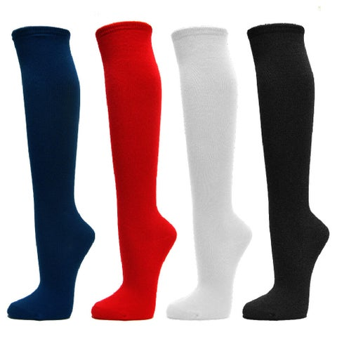 Couver Women's Fashion/Casual Plain Knee High Cotton Socks - 3 Pairs