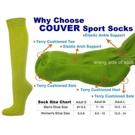 Lime Green Couver Knee High Unisex Sports Athletic Baseball Softball Socks(3 Pairs)