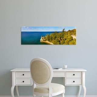 Easy Art Prints Panoramic Image 'Trees, Miners Castle, Pictured Rocks National Lakeshore, Michigan' Canvas Art