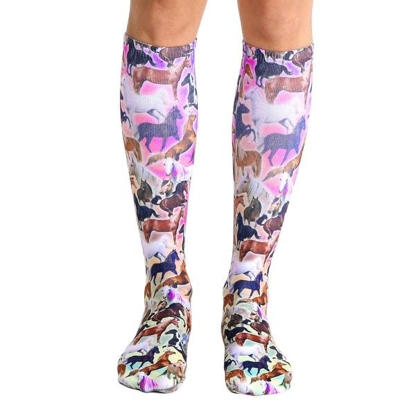 Living Royal Photo Print Knee High Socks: Horse Heaven - Multi-Colored