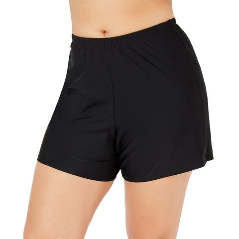 Island Escape WQomen's Plus Size Swim Shorts Swimsuit, (Black 22W) - 22W