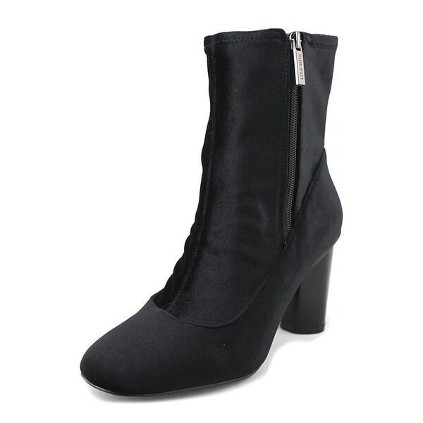 Nine West Valetta Women Round Toe Canvas Black Mid Calf Boot