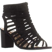 AR35 Sanchie Block-Heel Sandals, Black