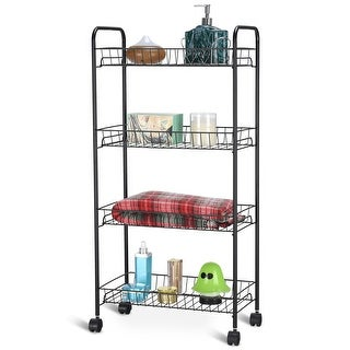 Costway 4 Tier Metal Utility Cart Rolling Wheels Tower Rack Baskets Kitchen  Bathroom | Overstock.com Shopping - The Best Deals on Kitchen Carts