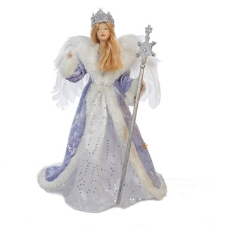 "17"" Glittered Ice Blue, White and Silver Ice Palace Snow Queen Christmas Tree Topper - Unlit"