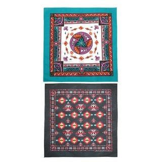 CTM® Women's Aztec and Apache Southwestern Print Bandana Kit (Pack of 2) - southwest print - One Size