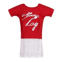 Richie House Girls Red Knit T-Shirt with Lace Bottom