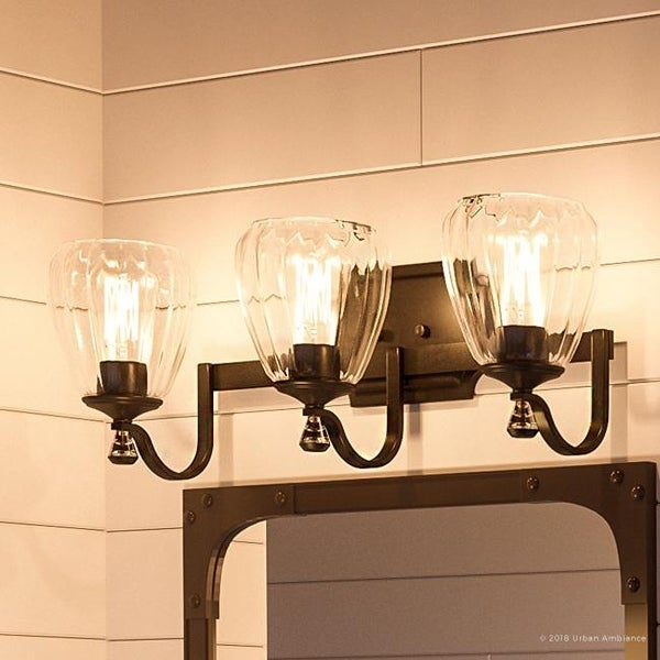 """French Country Crystal 3-light Bathroom Vanity Light by Urban Ambiance - 7-1/2""""H x 23""""W x 7""""Dep. Opens flyout."""