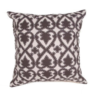 "22"" Black Walnut and Light Tan Cotton Floral Pattern Indoor Decorative Throw Pillow"