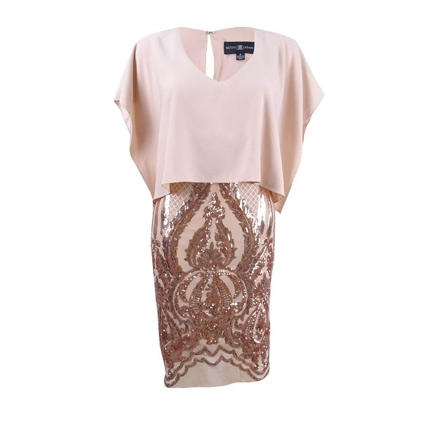 Shop Betsy & Adam Women\'s Plus Size Sequined Caped Dress - Champagne ...