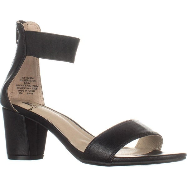 White Mountain Elinie Ankle Strap Dress Sandals, Black Smooth