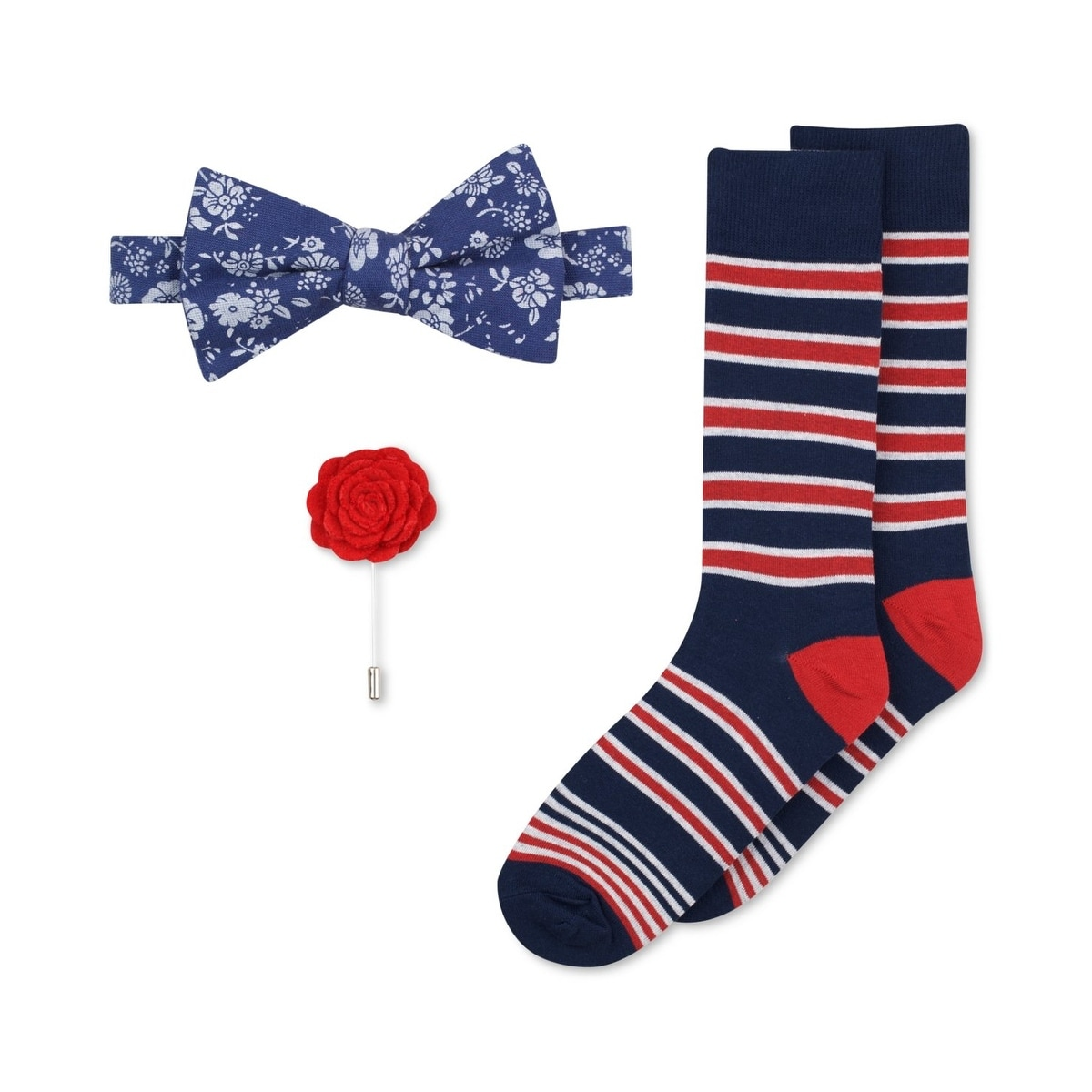 95d0b8a8d56c Shop Bar III NEW Blue Floral Pre-Tied Bow Tie, Flower Lapel & Socks Mens  Set - Free Shipping On Orders Over $45 - Overstock - 20545332