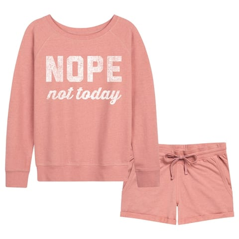 Nope Not Today - Women's French Terry Shorts Set - Desert Pink