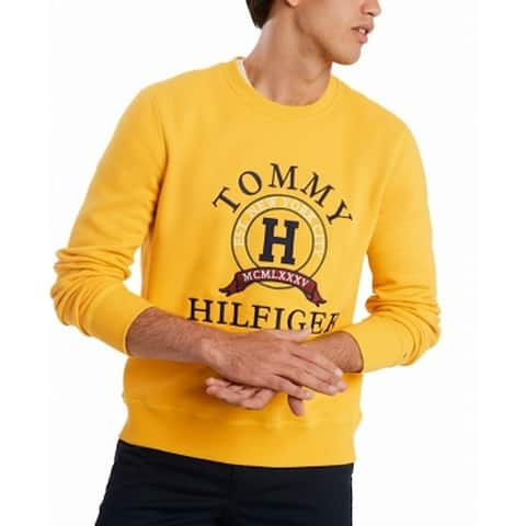 Tommy Hilfiger Mens Sweaters Yellow Size 2XL Crewneck Embroidered