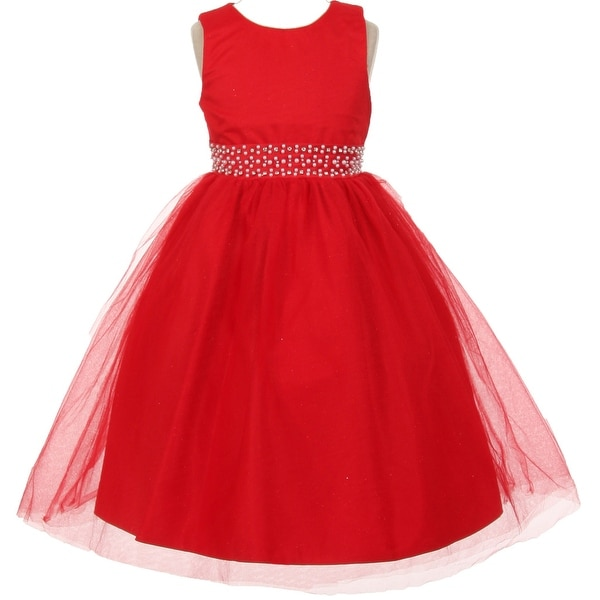 7126f08ebb Shop Flower Girl Dress Sparkly Tulle   Pearl Waist Red TR 1031 - Free  Shipping On Orders Over  45 - Overstock - 17752523