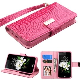 Insten Stand Folio Flip Crocodile Skin Leather Wallet Flap Pouch Case Cover With Diamond For LG Escape 3/ K7 Tribute 5