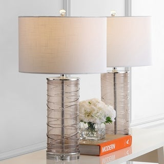 """Link to Cole 27.5"""" Modern Fused Glass Cylinder LED Table Lamp, Smoky Gray (Set of 2) by JONATHAN  Y Similar Items in Table Lamps"""