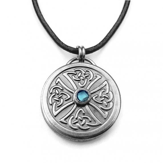 Loralyn Designs Round Brushed Stainless Steel Celtic Knot Pendant Necklace