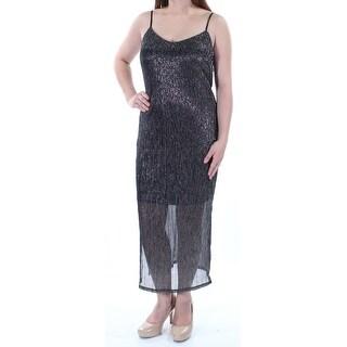 Womens Silver Spaghetti Strap Maxi Sheath Party Dress Size: M