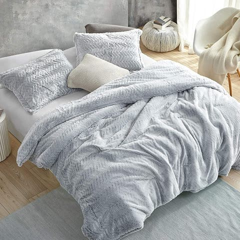 Peak of Cozy - Coma Inducer Oversized Comforter - Chevron Frosted Gray