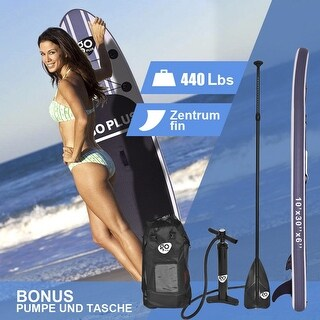 Goplus 10' Inflatable Stand Up Paddle Board SUP w/ 3 Fins Adjustable Paddle Backpack - gray&white