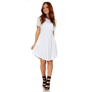 Simply Ravishing Women's Short Sleeve Casual Knee Length Blouson Dress (Size: S-3X)