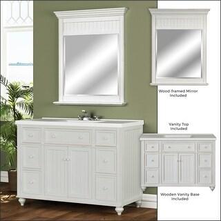 "Miseno MVDCR48COM 48"" Bathroom Vanity Set - Cabinet, Stone Top and Mirror Includ - Antique White"