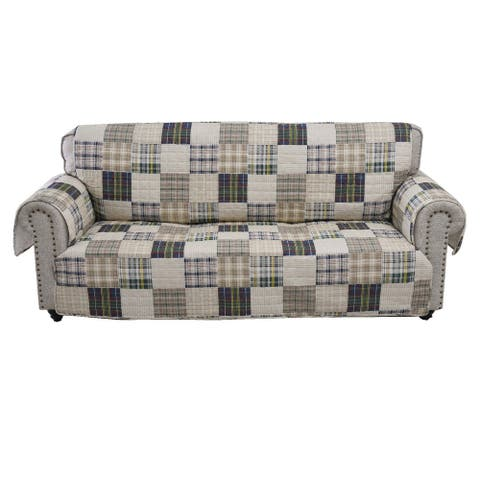 Waterproof Lining Sofa Protector with Plaid Square Design, Multicolor