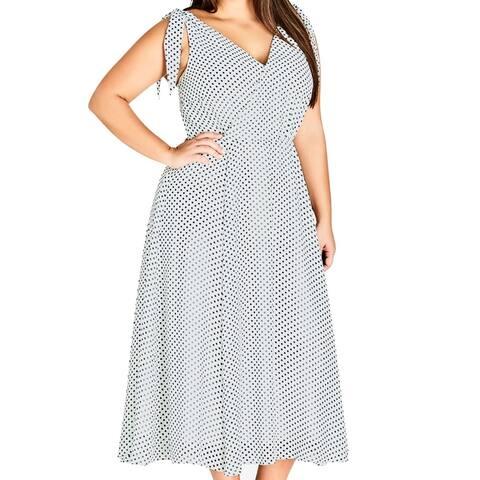 City Chic Women's A-Line Dress White Size 22 Plus Dot-Print Midi