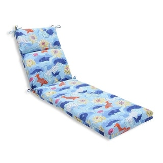 "72.5"" Blue and Orange Under the Sea Outdoor Patio Chaise Lounge Cushion"