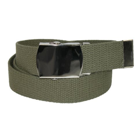 CTM® Big & Tall Cotton Adjustable Belt with Nickel Buckle - one size