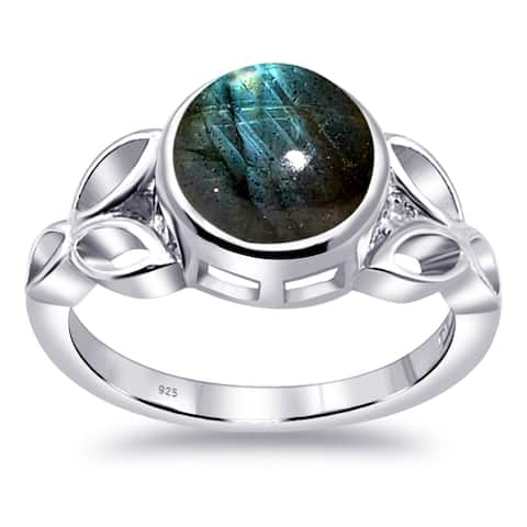 Labradorite Sterling Silver Round Wedding Ring by Orchid Jewelry