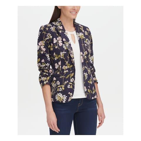 TOMMY HILFIGER Womens Navy Paisley Jacket Size 10
