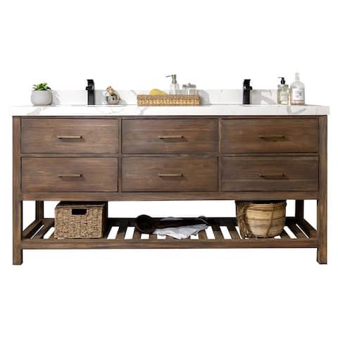 Willow Collections 60 x 22 Parker Solid Teak Wood Bathroom Vanity with 2 in Countertop