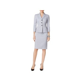 Le Suit Womens Skirt Suit Three Button Star Collar