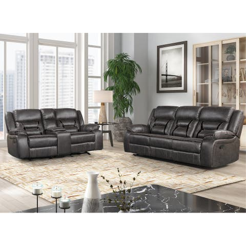 Elkton Manual Motion Reclining Sofa and Loveseat with Storage Console