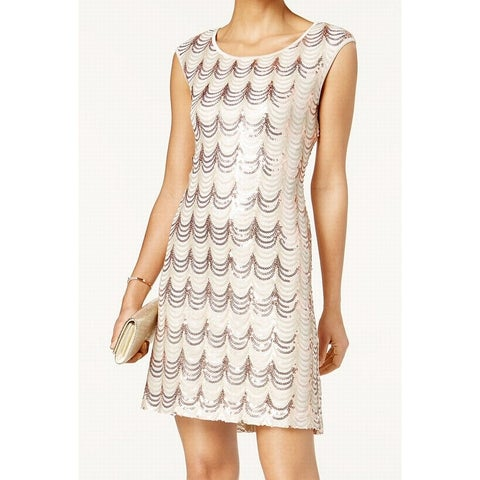 Connected Apparel Rose Womens Sequined Sheath Dress