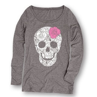 White Rose Filled Sugar Skull Pink Rose Fashion Hipster Urban Women's L/S Tee