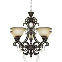 "Artcraft Lighting AC1827 Florence 5-Light Crystal Chandelier - 28"" Wide - Bronze"